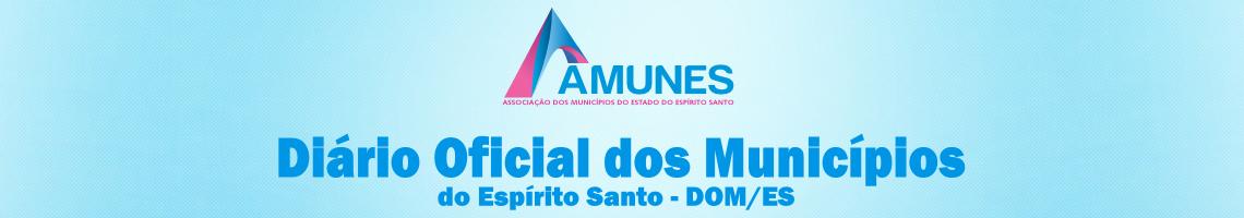 Banner com logotipo AMUNES e dizeres: Diário Oficial dos Municípios do Espírito Santo - DOM/ES